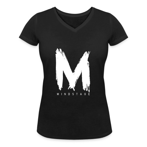 Logo Weiß - Frauen Bio-T-Shirt mit V-Ausschnitt von Stanley & Stella