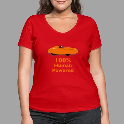 100% human powered - Stanley & Stellan naisten v-aukkoinen luomu-T-paita