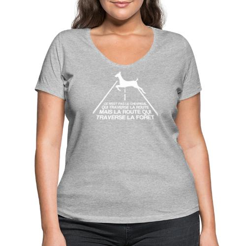 Chevreuil blanc - T-shirt bio col V Stanley & Stella Femme