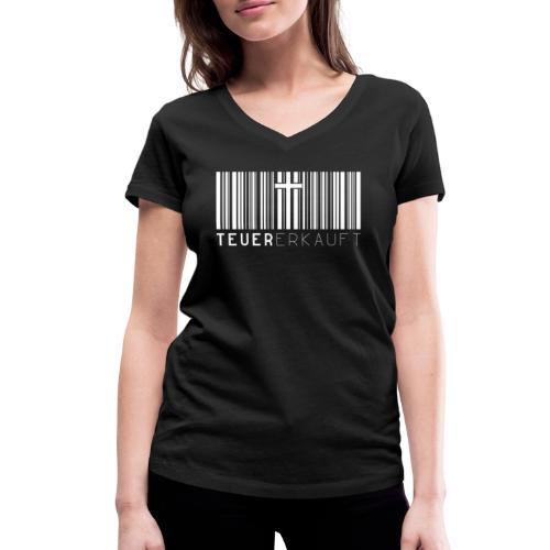 Teuer Erkauft Barcode Jesus Kreuz - Christlich - Frauen Bio-T-Shirt mit V-Ausschnitt von Stanley & Stella