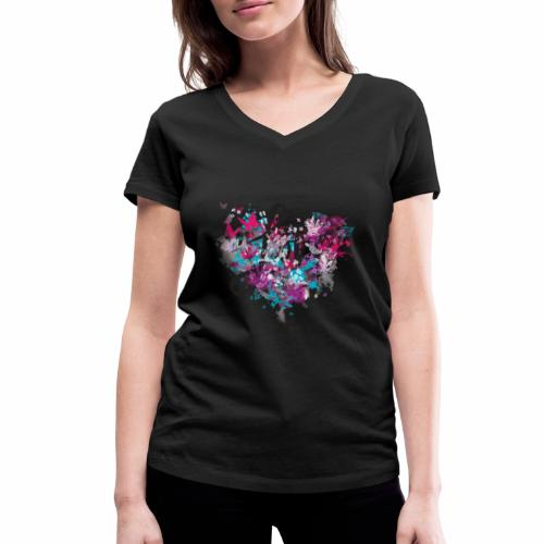 Love with Heart - Women's Organic V-Neck T-Shirt by Stanley & Stella