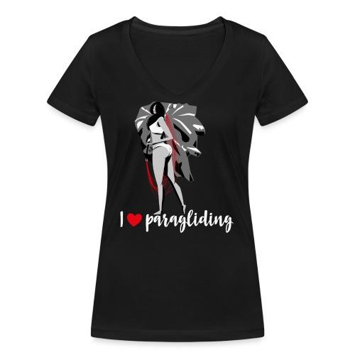 Frau mit Gleitschirm - Frauen Bio-T-Shirt mit V-Ausschnitt von Stanley & Stella