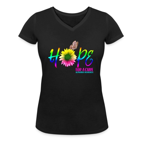 Hope For A Cure Alzheimer Awareness - Women's Organic V-Neck T-Shirt by Stanley & Stella