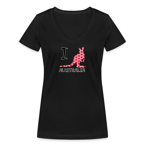 I heart Australia Kangaroo - Women's Organic V-Neck T-Shirt by Stanley & Stella