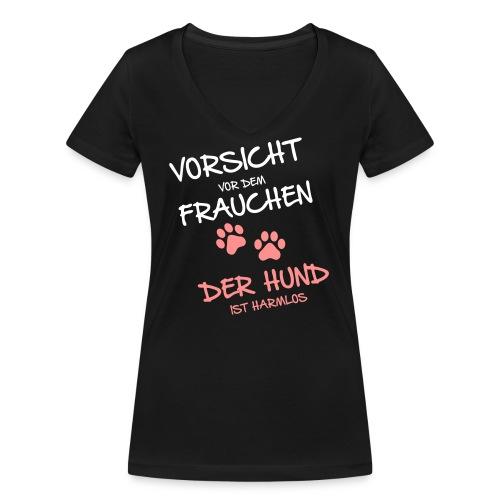 Vorschau: Vorsicht vor dem Frauchen - Frauen Bio-T-Shirt mit V-Ausschnitt von Stanley & Stella