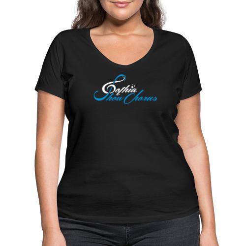 GothiaShowChorus_liggande vit blå - Ekologisk T-shirt med V-ringning dam från Stanley & Stella