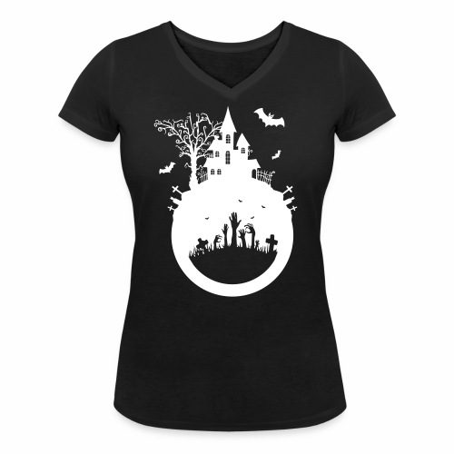 Halloween Design - Das Spukhaus - Frauen Bio-T-Shirt mit V-Ausschnitt von Stanley & Stella