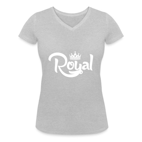 Royal Logo White Edition - Women's Organic V-Neck T-Shirt by Stanley & Stella