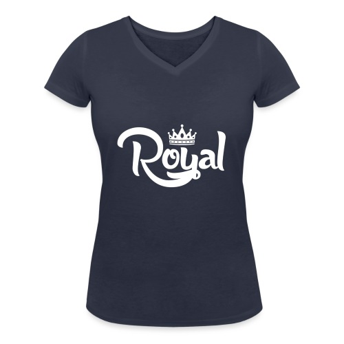 Royal Logo White Edition - Women's Organic V-Neck T-Shirt by Stanley & Stella