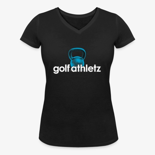 GOLF ATHLETZ - Kettlebell Trainings Sport Motiv - Frauen Bio-T-Shirt mit V-Ausschnitt von Stanley & Stella