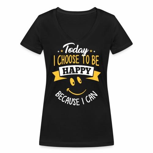 todayichoosetobehappy - Vrouwen bio T-shirt met V-hals van Stanley & Stella
