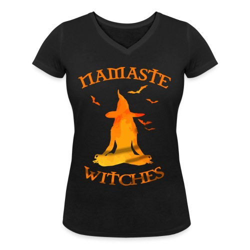 Namaste witches halloween shirt - Women's Organic V-Neck T-Shirt by Stanley & Stella