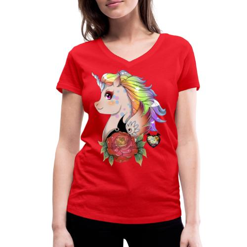 licorne kawaii - T-shirt bio col V Stanley & Stella Femme