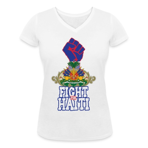 Fight For Haiti - T-shirt ecologica da donna con scollo a V di Stanley & Stella