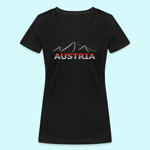 Austria - Österreich Berge T-Shirt - Frauen Bio-T-Shirt mit V-Ausschnitt von Stanley & Stella