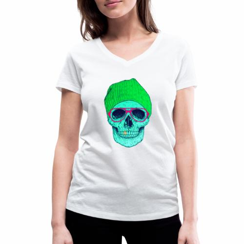POP SMILING SKULL - T-shirt bio col V Stanley & Stella Femme