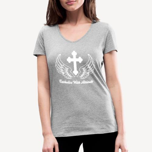 CATHOLICS WITH ATTITUDE - Women's Organic V-Neck T-Shirt by Stanley & Stella