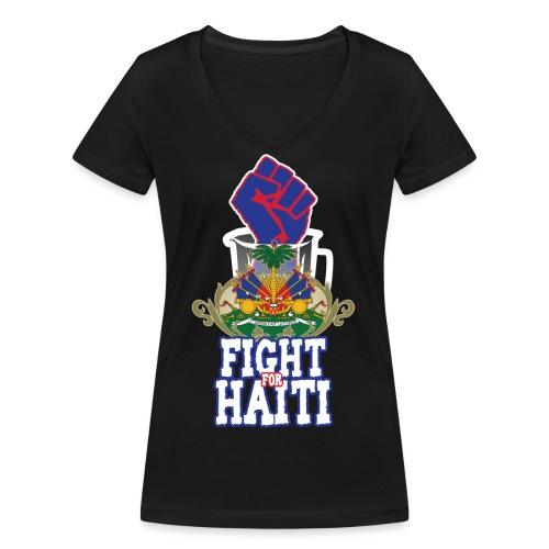 Fight For Haiti - T-shirt ecologica da donna con scollo a V di Stanley & Stella