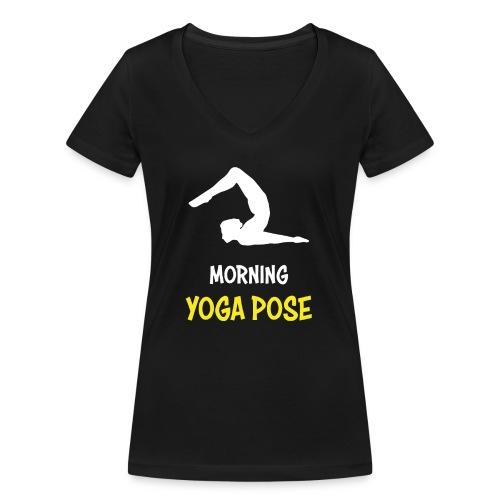 Morgentliche Yoga Pose Hingefallen Yoga Geschenk - Frauen Bio-T-Shirt mit V-Ausschnitt von Stanley & Stella