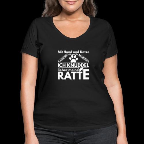 Mit Hund und Katze Kuscheln ist was for Madchen - Frauen Bio-T-Shirt mit V-Ausschnitt von Stanley & Stella
