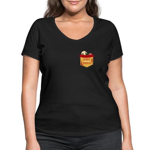 Füttere mich einfach mit Pizza - Frauen Bio-T-Shirt mit V-Ausschnitt von Stanley & Stella
