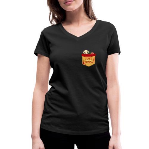 Bare mat meg pizza - Økologisk T-skjorte med V-hals for kvinner fra Stanley & Stella