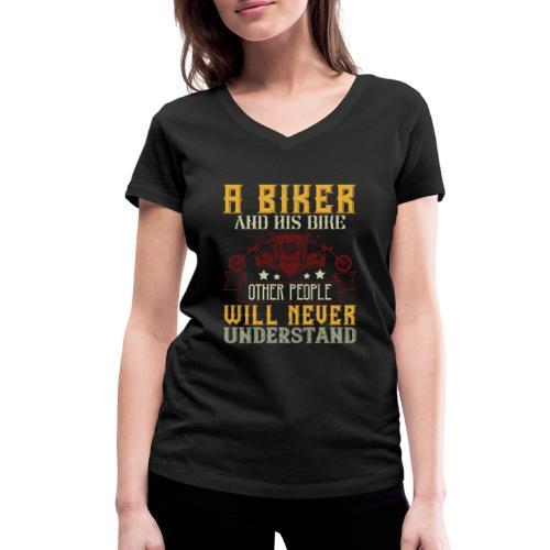 A biker and his bike. - Women's Organic V-Neck T-Shirt by Stanley & Stella