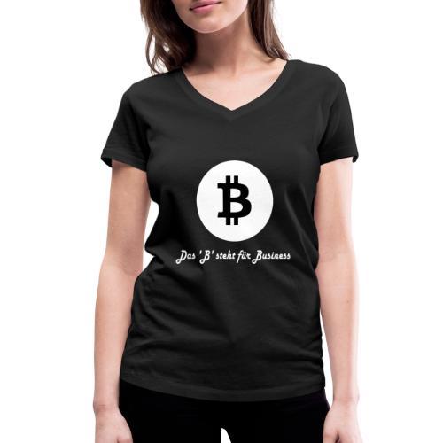 Das B steht fuer Business weiss - Frauen Bio-T-Shirt mit V-Ausschnitt von Stanley & Stella