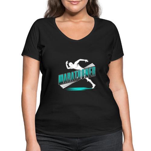Marathoner - Frauen Bio-T-Shirt mit V-Ausschnitt von Stanley & Stella