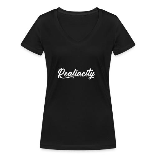 Realiacity Logo - Camiseta ecológica mujer con cuello de pico de Stanley & Stella