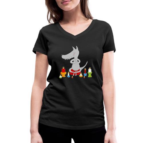 Zahmer Yoga Wolf am meditieren mit Kerzen - Frauen Bio-T-Shirt mit V-Ausschnitt von Stanley & Stella