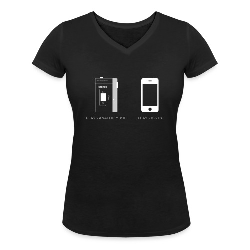 walkman analog - phone 1&0s - Women's Organic V-Neck T-Shirt by Stanley & Stella