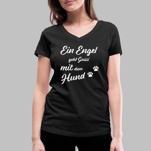 Ein Engel geht Gassi mit dem Hund - V2 - White - Frauen Bio-T-Shirt mit V-Ausschnitt von Stanley & Stella