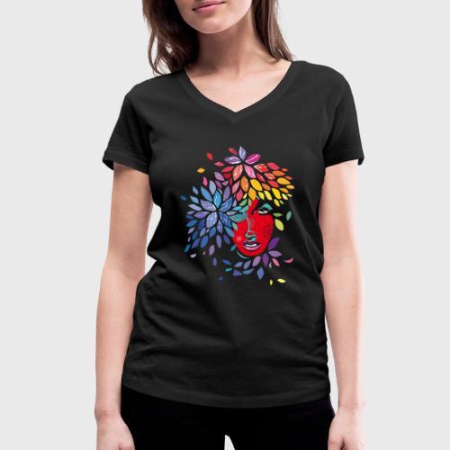 Femme cheveux de fleurs - T-shirt bio col V Stanley & Stella Femme