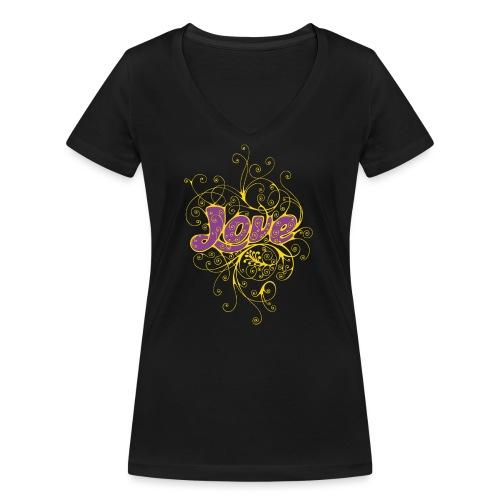 LOVE VIOLA CON DECORI - T-shirt ecologica da donna con scollo a V di Stanley & Stella