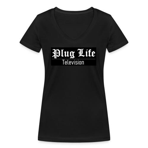 Plug Life Television Logo - Women's Organic V-Neck T-Shirt by Stanley & Stella