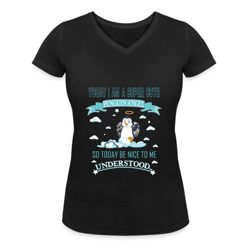Pinguin Engel Weihnachten Antarktis Shirt Geschenk - Frauen Bio-T-Shirt mit V-Ausschnitt von Stanley & Stella