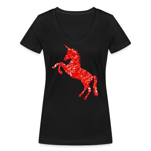 unicorn red - Ekologiczna koszulka damska z dekoltem w serek Stanley & Stella