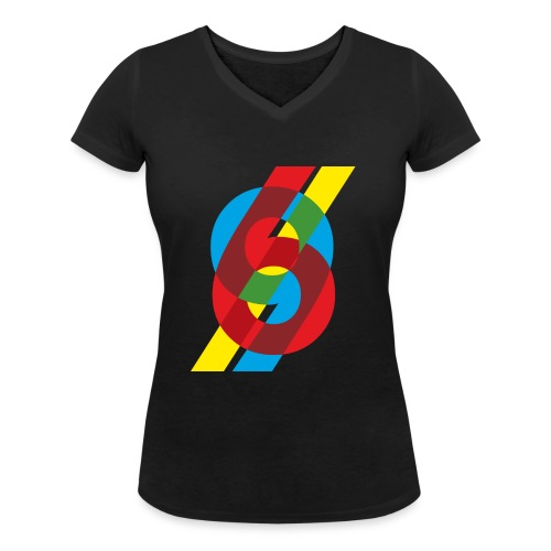 colorful numbers - Women's Organic V-Neck T-Shirt by Stanley & Stella