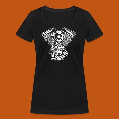 Motorrad Motor / Engine 01_weiß - Frauen Bio-T-Shirt mit V-Ausschnitt von Stanley & Stella