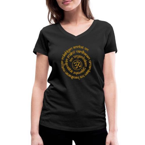 Yoga Mantra Motiv Tryambakam Heilmantra Gold - Frauen Bio-T-Shirt mit V-Ausschnitt von Stanley & Stella