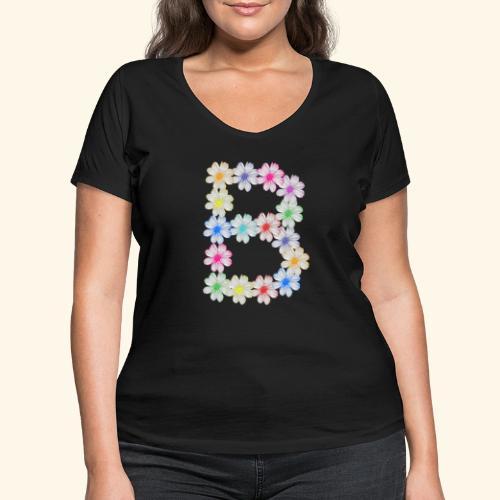 Buchstabe B aus Blumen, floral, Kosmee Blüten - Frauen Bio-T-Shirt mit V-Ausschnitt von Stanley & Stella