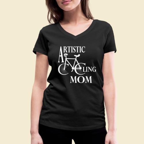 Kunstrad | Artistic Cycling Mom white - Frauen Bio-T-Shirt mit V-Ausschnitt von Stanley & Stella