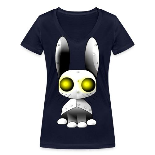 robotkanin med gula ögon - Women's Organic V-Neck T-Shirt by Stanley & Stella