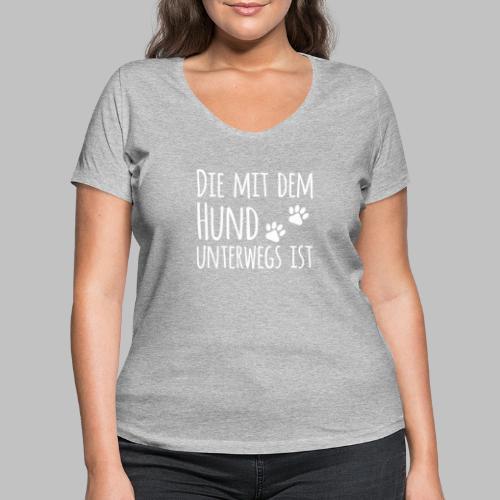 Die mit dem Hund unterwegs ist - Hundepfoten - Frauen Bio-T-Shirt mit V-Ausschnitt von Stanley & Stella