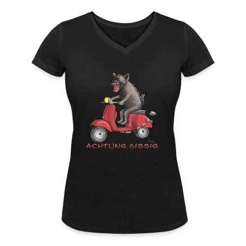 Hyäne - Achtung bissig - Frauen Bio-T-Shirt mit V-Ausschnitt von Stanley & Stella