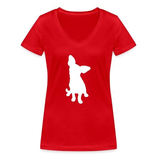 Chihuahua istuva valkoinen - Stanley & Stellan naisten v-aukkoinen luomu-T-paita
