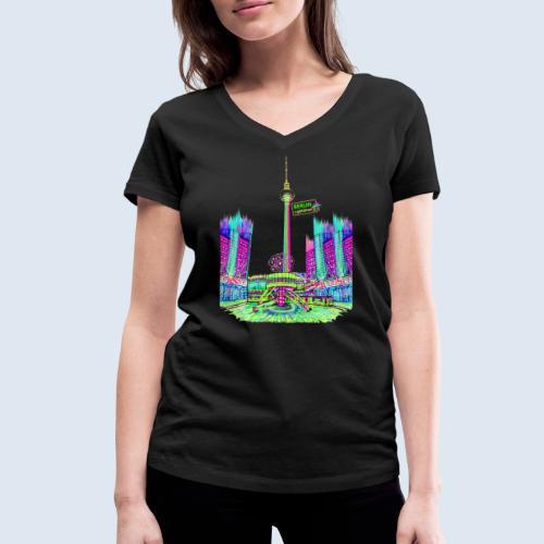 """Berliner Original """"Alexanderplatz"""" PopArt Design - Frauen Bio-T-Shirt mit V-Ausschnitt von Stanley & Stella"""