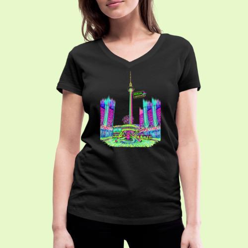 Berlin Alexanderplatz / BerlinLightShow /PopArt - Frauen Bio-T-Shirt mit V-Ausschnitt von Stanley & Stella