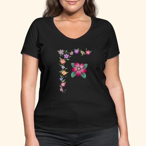 Blumenranke, Blumen, Blüten, floral, blumig, bunt - Frauen Bio-T-Shirt mit V-Ausschnitt von Stanley & Stella